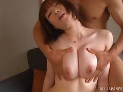 Japanese chick with big nipples enjoying a hardcore doggy style fuck