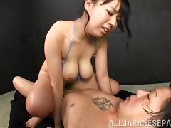 Sexy, oiled up Asian girl Shiori Tsukada gets fucked hard