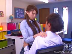 Japanese college girl Harumi Tachiba rides a cock in hardcore sex clip