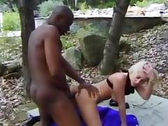 White Golden-Haired Whore Takes Biggest Darksome Weenie in Her Virgin Butt