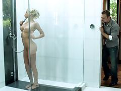 Admirable blonde Riley Steele gets fucked every which way in the shower
