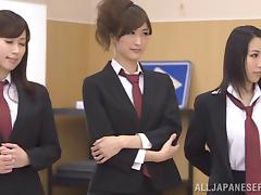 Horny Japanese bitches enjoy group sex in reality clip
