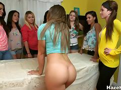 Gorgeous lesbian with a nice ass enjoying a gangbang at a party