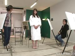 Japanese babe Rei Aimi in high heels receives Hardcore gangbang