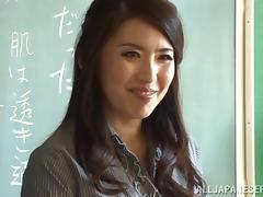 Ayako Kirishim sucks and titfucks a prick in a public bathroom