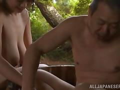 After a bath this Asian MILF gives a blowjob and gets fucked