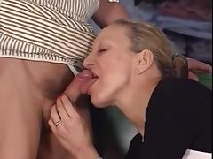 Anal sex scene with a mature bimbo