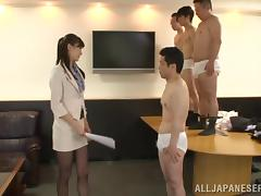 Japanese office girl in pantyhose gives blowjob and rimmed Hardcore
