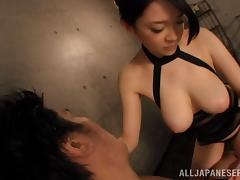 Naughty Asian cowgirl enjoying as her big tits are fondled passionately before giving a terrific blowjob