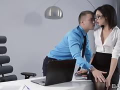 A lucky guy fucks his hot secretary all over his office