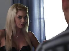 Blonde orgasms while getting fucked and takes cumshot on face