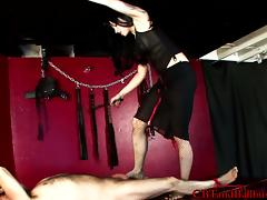 Captivating tattooed brunette spanking her guy lovely in bdsm sex