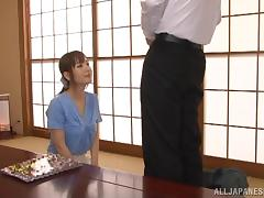 Fancy Japanese cowgirl having her small tits sucked before being hammered hardcore in reality shoot
