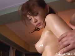 Curvy dame with big tits getting oiled before being hammered hardcore in close up shoot