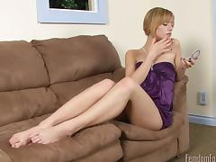Attractive blonde in a nylon stockings thrilled as she gets a stunning foot lick