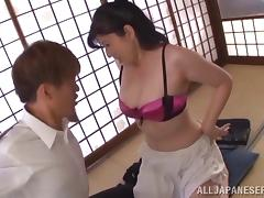 Adorable MILF in sexy bra delivering superb blowjob before screaming while she gets fucked doggystyle