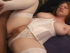 Natural Hairy Redhead Pale Skin Pink Tits Gets Creampie